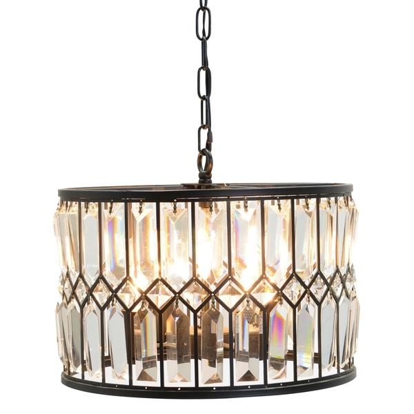 Round Bronze Iron Crystal Chandelier
