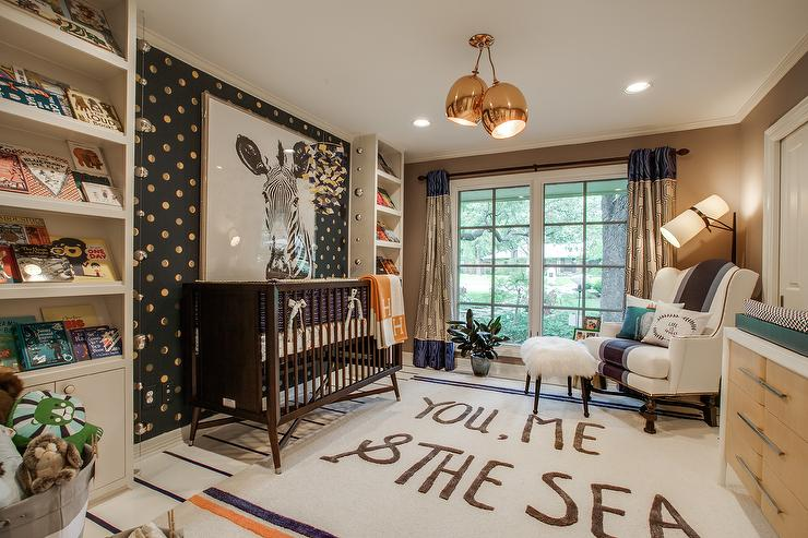 Brown Boy Nursery With Gold Dots Accent Wall Contemporary Nurseries