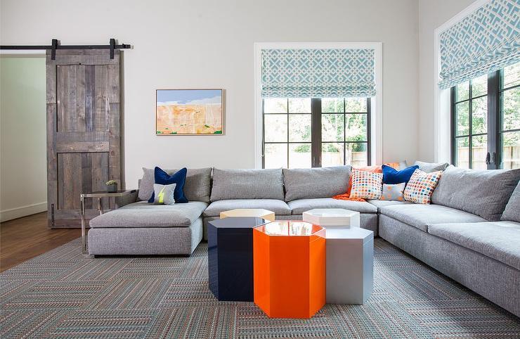 Gray Sectional With Cobalt Blue Velvet Pillows