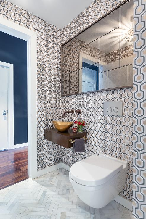 Contemporary Powder Room With Floating Sink Vanity And