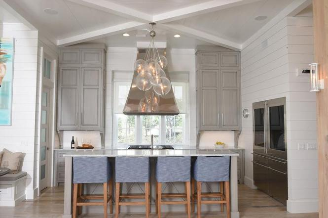Blue And Gray Beach Bungalow Kitchen With Arteriors Caviar 8 Light Cer Pendant