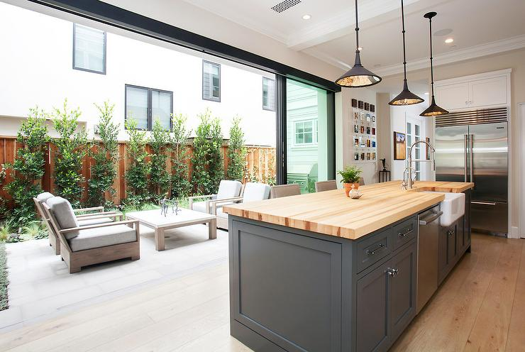 kitchen with sliding glass patio doors