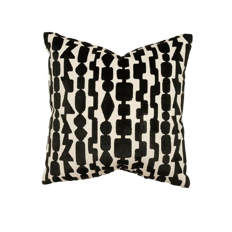 black and white geometric velvet pillow