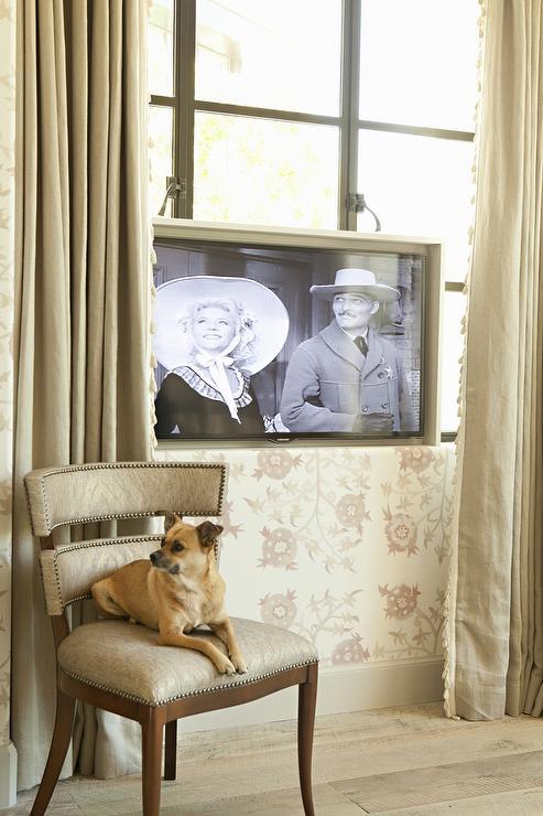 TV In Front Of Bedroom Window Transitional Bedroom