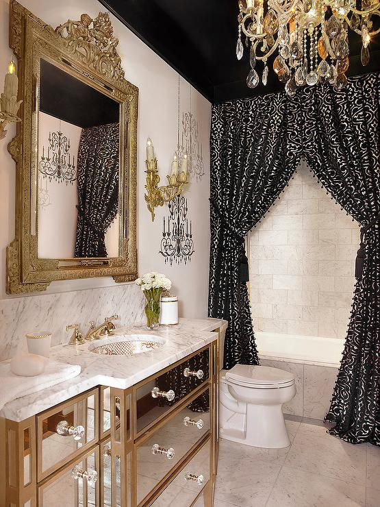 Black And Gold Baroque Bathroom With Ceiling