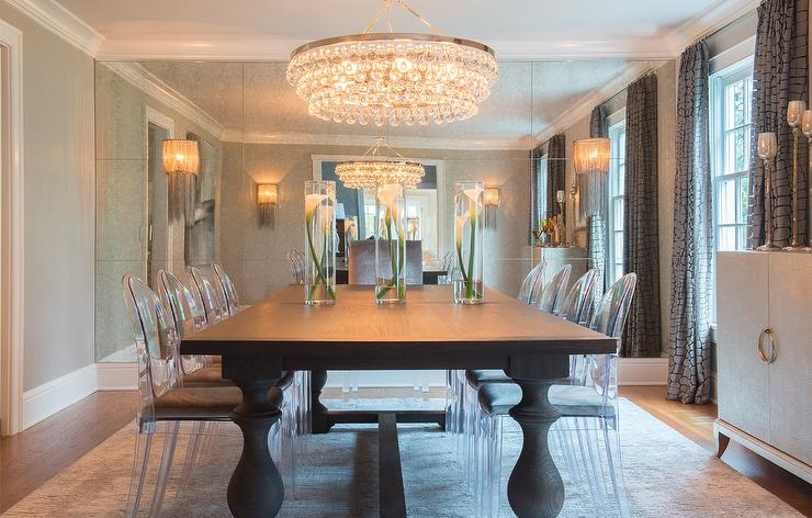 Dining Room With Floor To Ceiling Antiqued Mirrored Accent