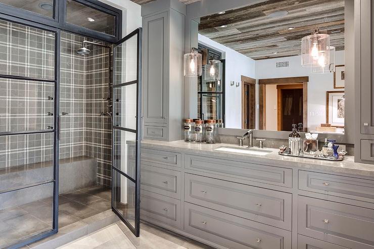 gray plaid shower tiles