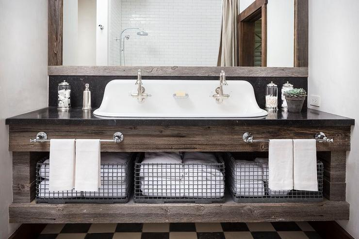 reclaimed wood bath vanity with his and