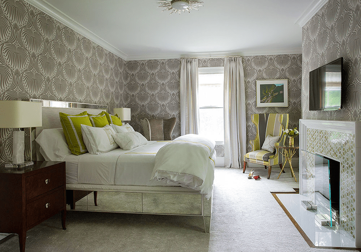 Green And Gray Bedroom With Mirrored Bed Contemporary