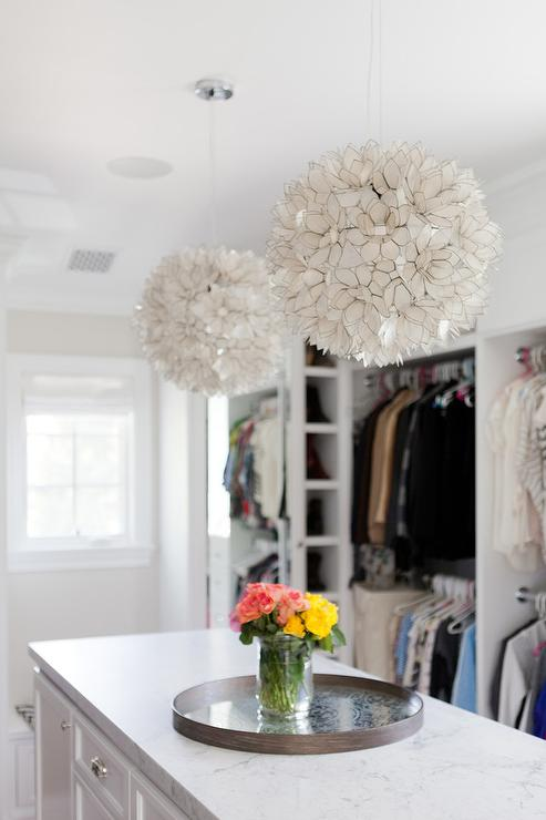 Long And Narrow Closet Island With Honed White Marble Top Capiz Lotus Flower Chandelier