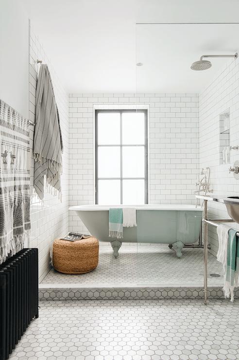 Blue And Gray Bathroom With Blue Quatrefoil Tiles