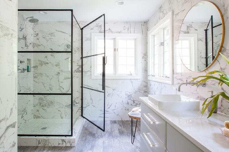 Gray Modern Bathroom Vanity With White Quartz Countertop