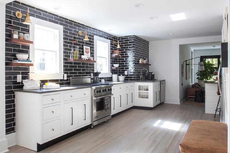 White Kitchen with Gray Quartz Countertops and Glossy ... on Kitchen Backsplash For Black Countertop  id=28700