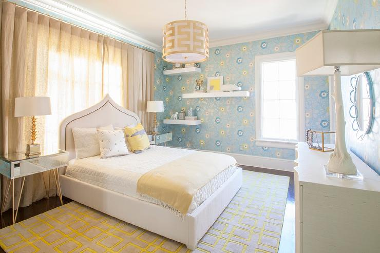 Yellow And Blue Girl Bedroom With Worlds Away Debra