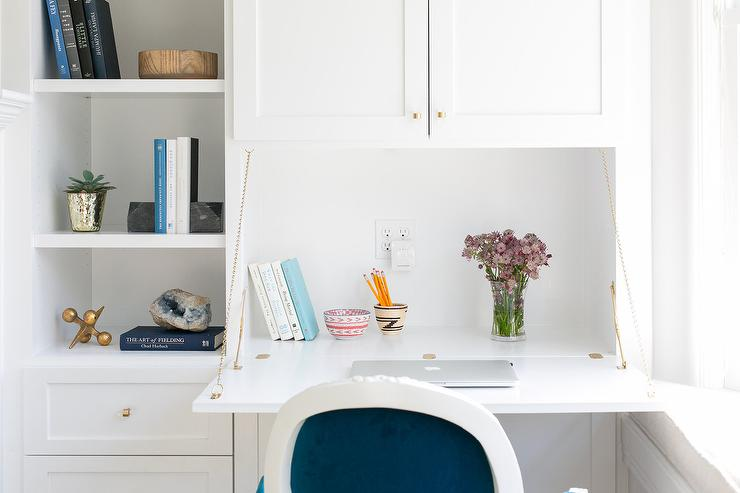 Built In Flip Down Desk With Blue French Chair