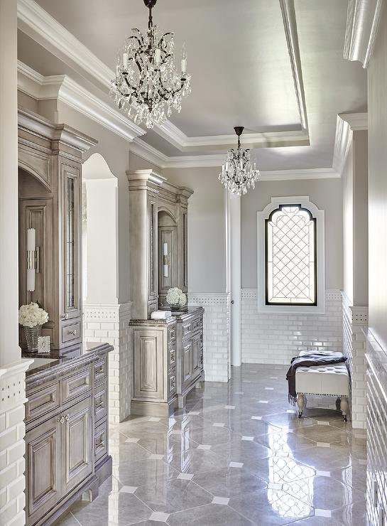 White Bathroom With Gray Mosaic Marble Tiles And Built In
