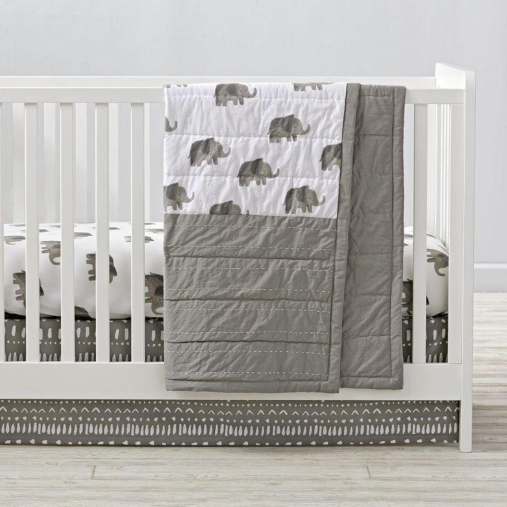 gray and white elephant crib bedding