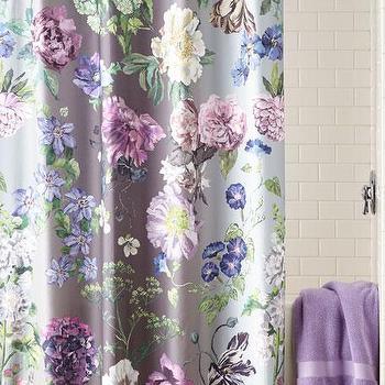 purple green ikat shower curtain