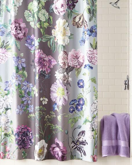 Watercolor Nude And Gray Floral Shower Curtain