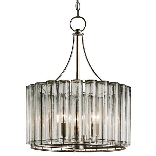 Silver Leaf Scalloped Silhouette Drum Chandelier