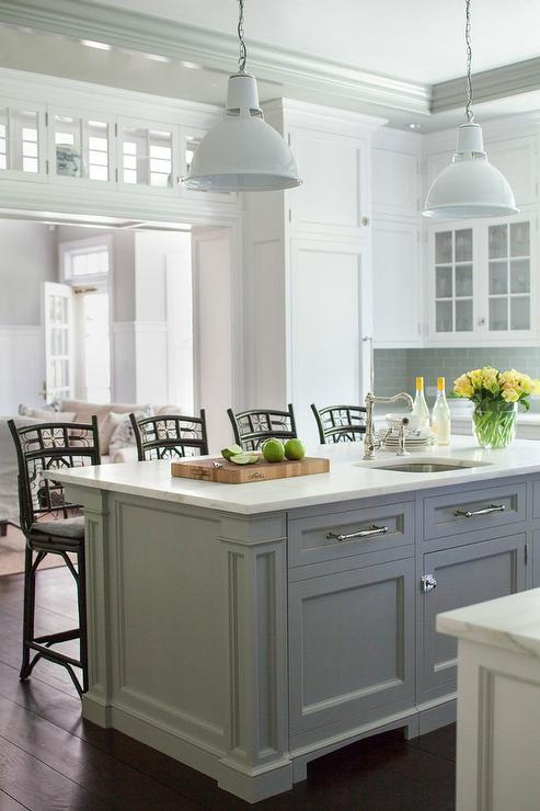 Industrial Counter Stools Transitional Kitchen Amber Interiors