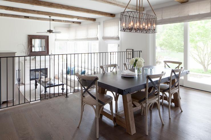 Zinc Top Dining Table With Leather X Back French Dining Chairs Transitional Dining Room