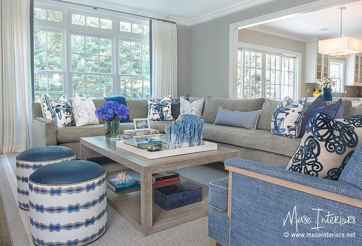 Dark Grey Velvet Sectional With Blue Pillows Transitional. Living Room ... Part 38