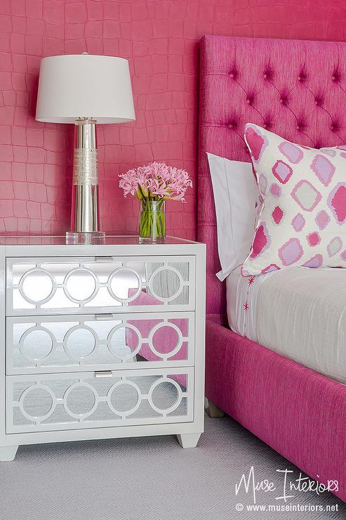 hot pink girl bedroom with white