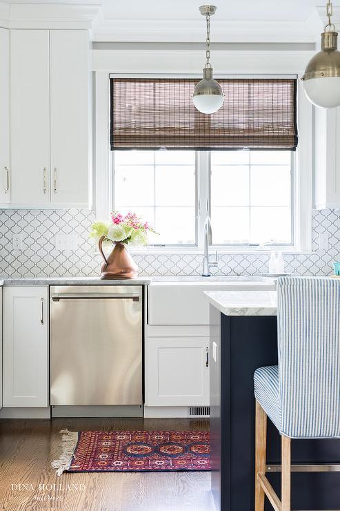 white moroccan trellis tiles by home
