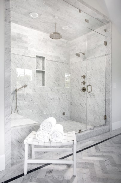 Large Marble Spacious Shower With Three Shower Heads