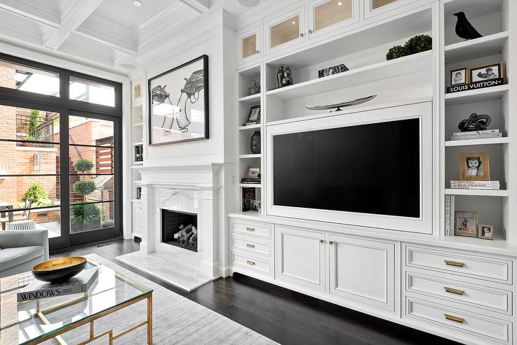 White Living Room Built In Cabinets