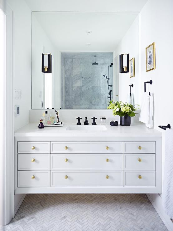 Gray Lacquered Bath Vanity With Gold Hardware