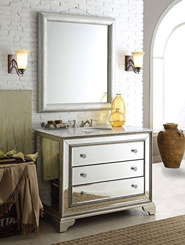 42 inch carrara marble top mirrored