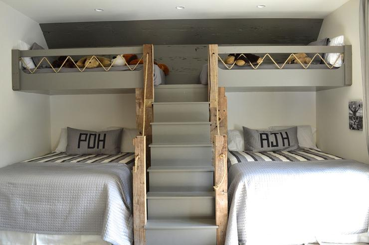 Gray Loft Beds With Gray Built In Staircase Cottage