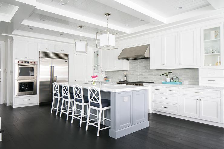 Freestanding Blue Kitchen Island With Sliding Cabinet Doors Transitional Kitchen