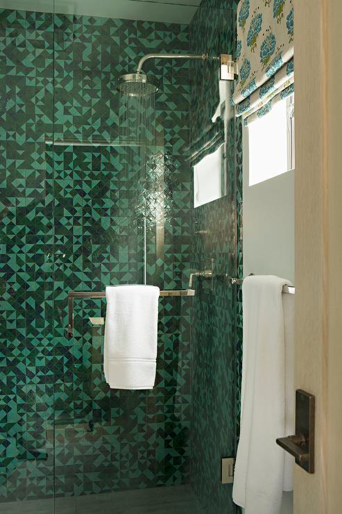 green geometric shower tiles