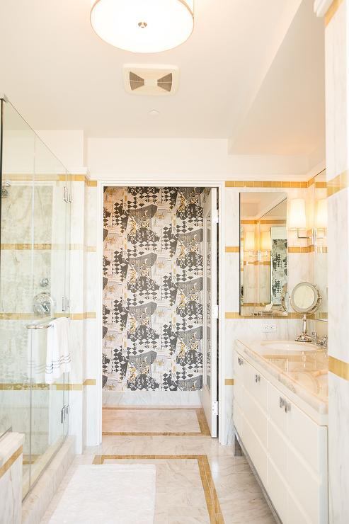 white and gold marble bathroom tiles