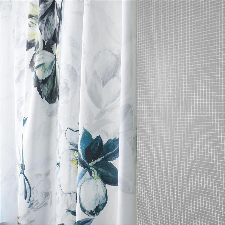 Threshold Grey And White Floral Shower Curtain