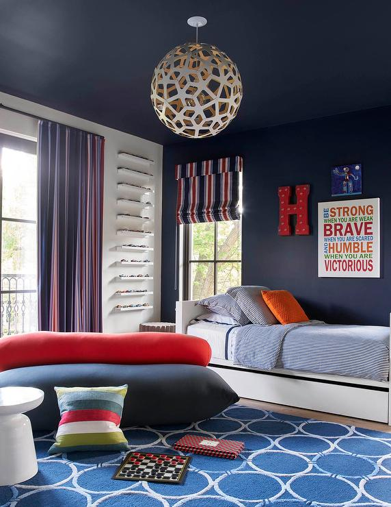 Navy Blue Boy Bedroom With Silver Race Car Bed