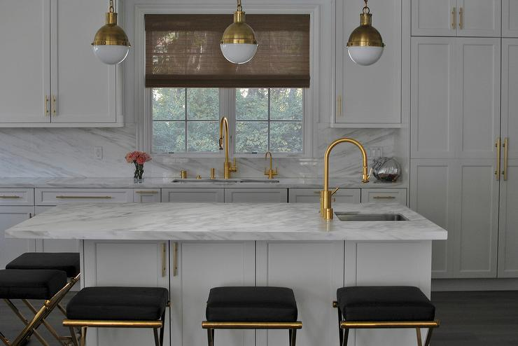 White Kitchen With Black And Gold Barstools Contemporary