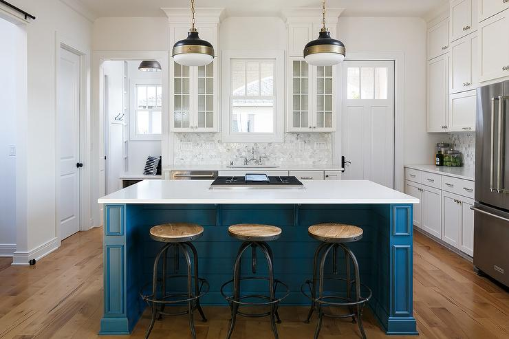 Blue Shiplap Kitchen Island With Industrial Counter Stools Transitional Kitchen