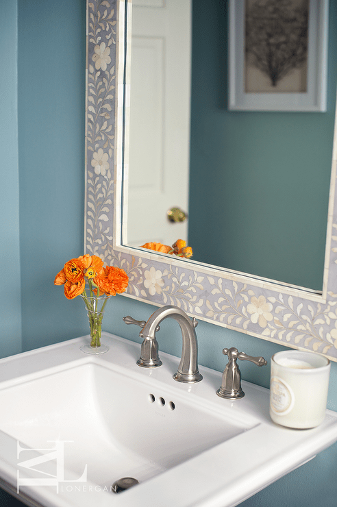 White And Blue Moroccan Style Tiles Mediterranean Bathroom