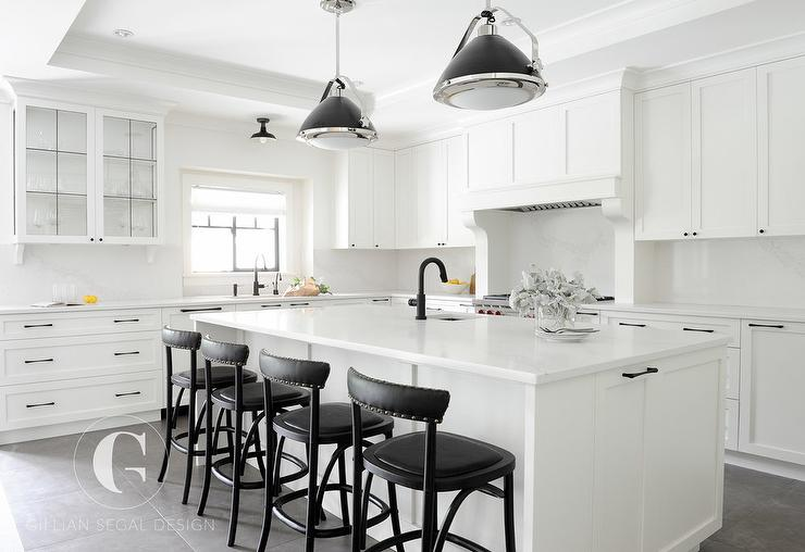Black And White Kitchen With Tray Ceiling Transitional