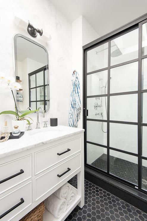 Large Round Mirror With Black Bath Vanity Contemporary