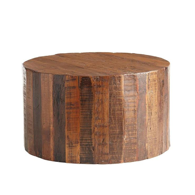woodlands round raw wood coffee table