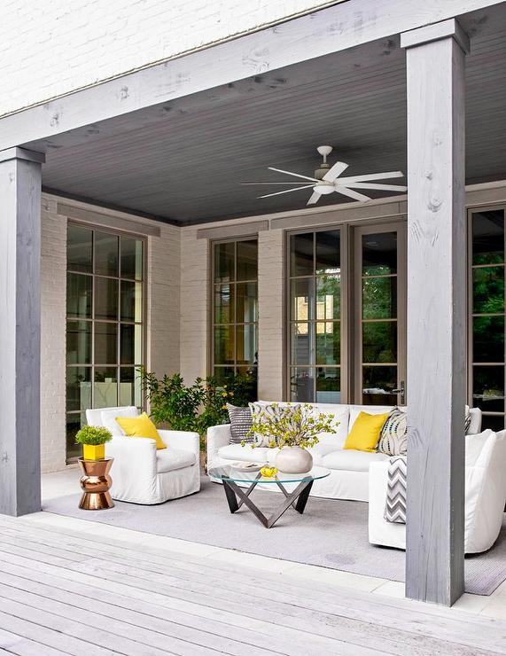 White Outdoor Sofa with Yellow Outdoor Pillows ... on White Patio Ideas id=55163