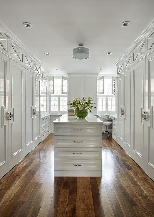 White Lacquered Closet Doors Transitional Closet