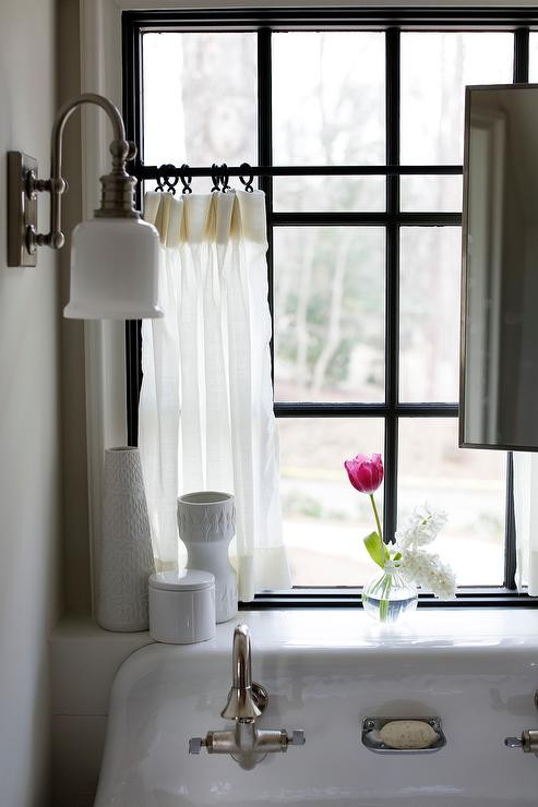 cafe curtains over trough sink
