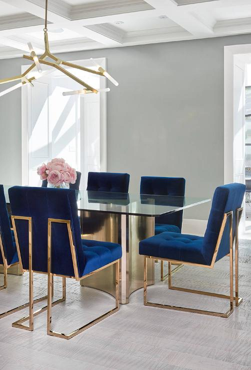 Sapphire Blue Velvet Tufted Dining Chairs Contemporary Dining Room