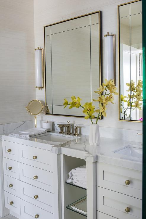 Brass Vanity Mirror With Calliope Tall Bath Lights Transitional Bathroom